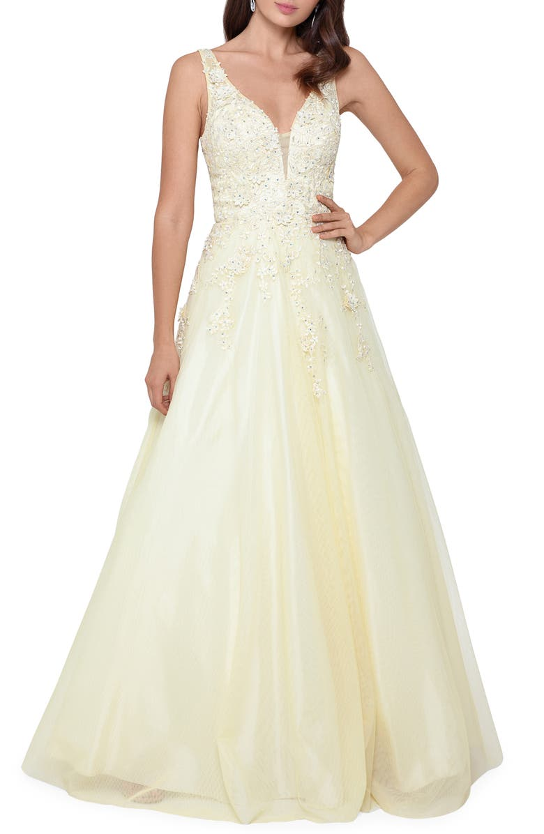 XSCAPE Embroidered Chiffon Ballgown, Main, color, YELLOW