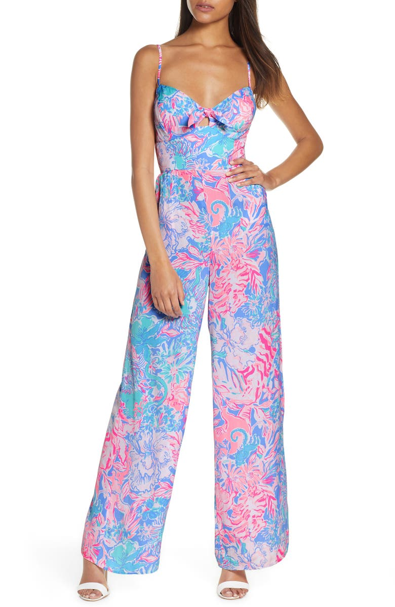 LILLY PULITZER<SUP>®</SUP> Bente Bow Front Jumpsuit, Main, color, 650