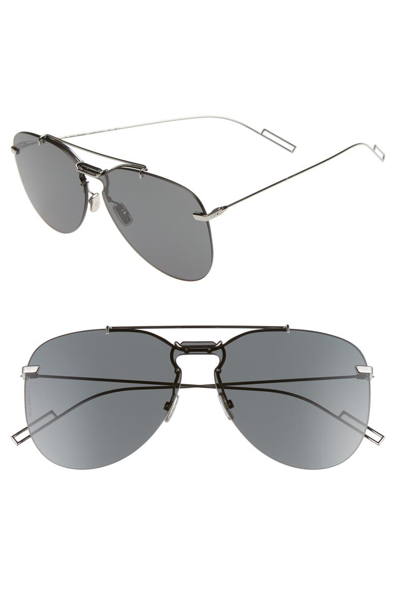 DIOR 62mm Mirrored Aviator Sunglasses, Main, color, RUTHENIUM