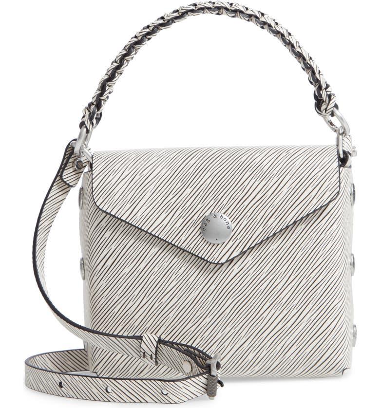 RAG & BONE Micro Atlas Leather Crossbody Bag, Main, color, BLACK/ WHITE