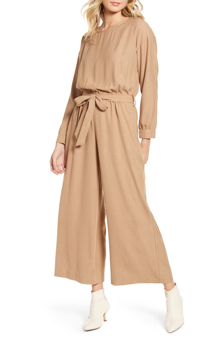 THE ODELLS Mala Tie Waist Wide Leg Jumpsuit, Main, color, LUANDA CLOTH