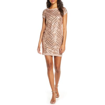 Petite Eliza J Lattice Pattern Sequin Sheath Dress, Pink