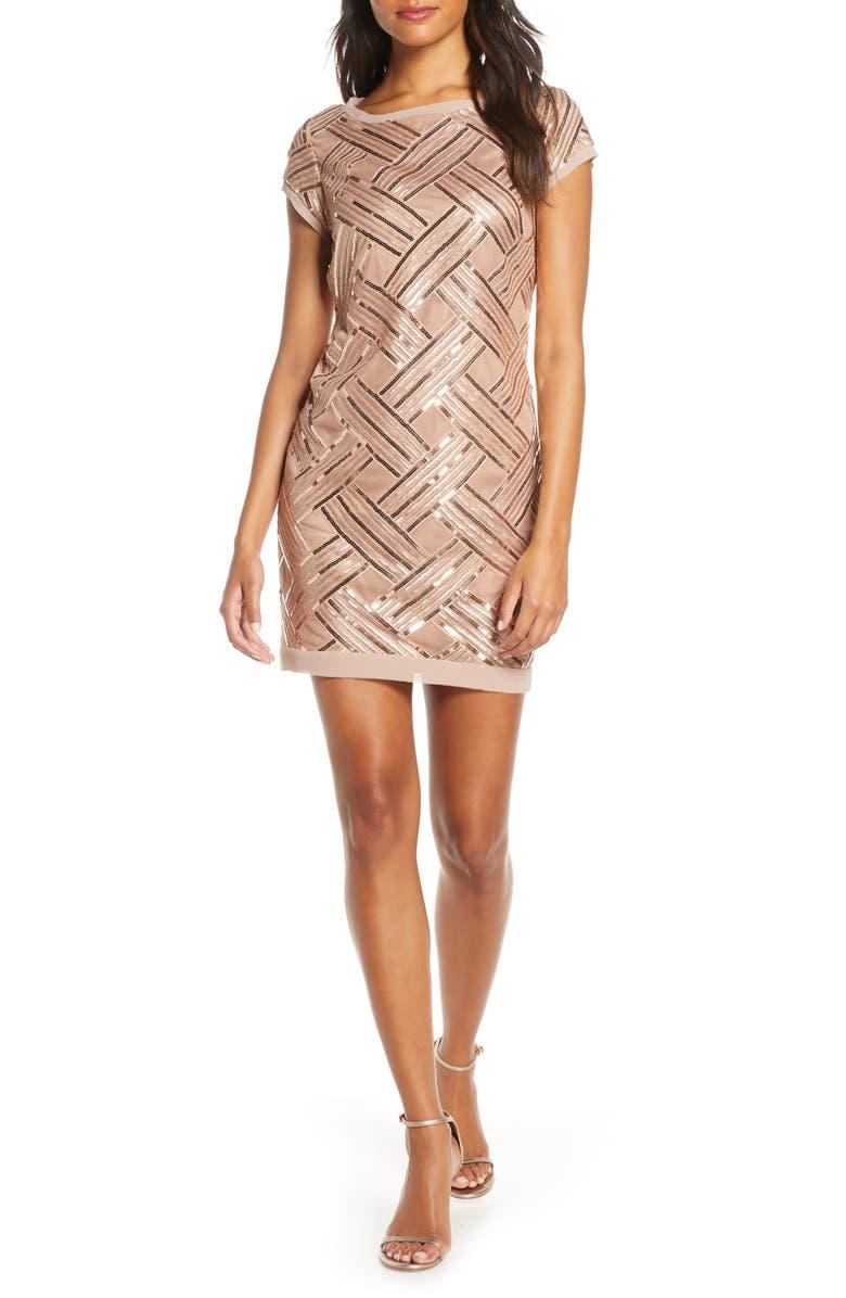 ELIZA J Lattice Pattern Sequin Sheath Dress, Main, color, ROSE