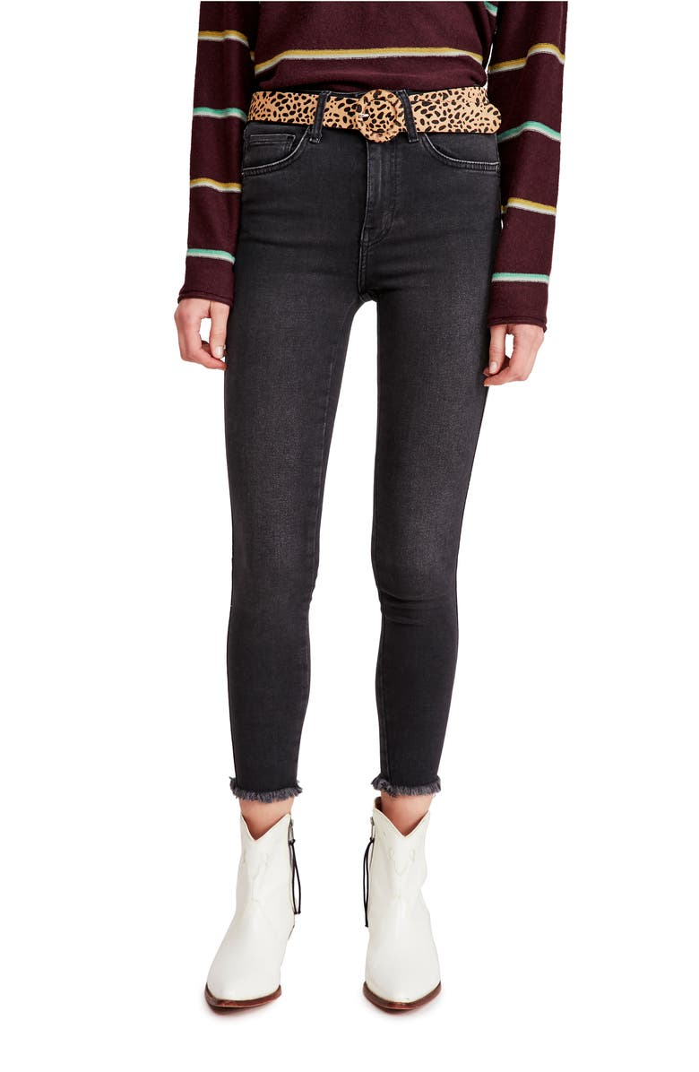 FREE PEOPLE High Waist Ankle Denim Leggings, Main, color, BLACK