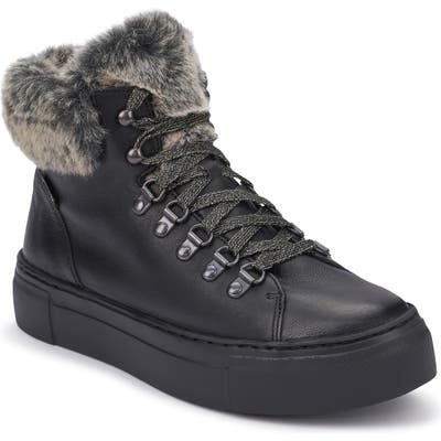 Mephisto Ginou Faux Fur Lined High Top Sneaker, Black