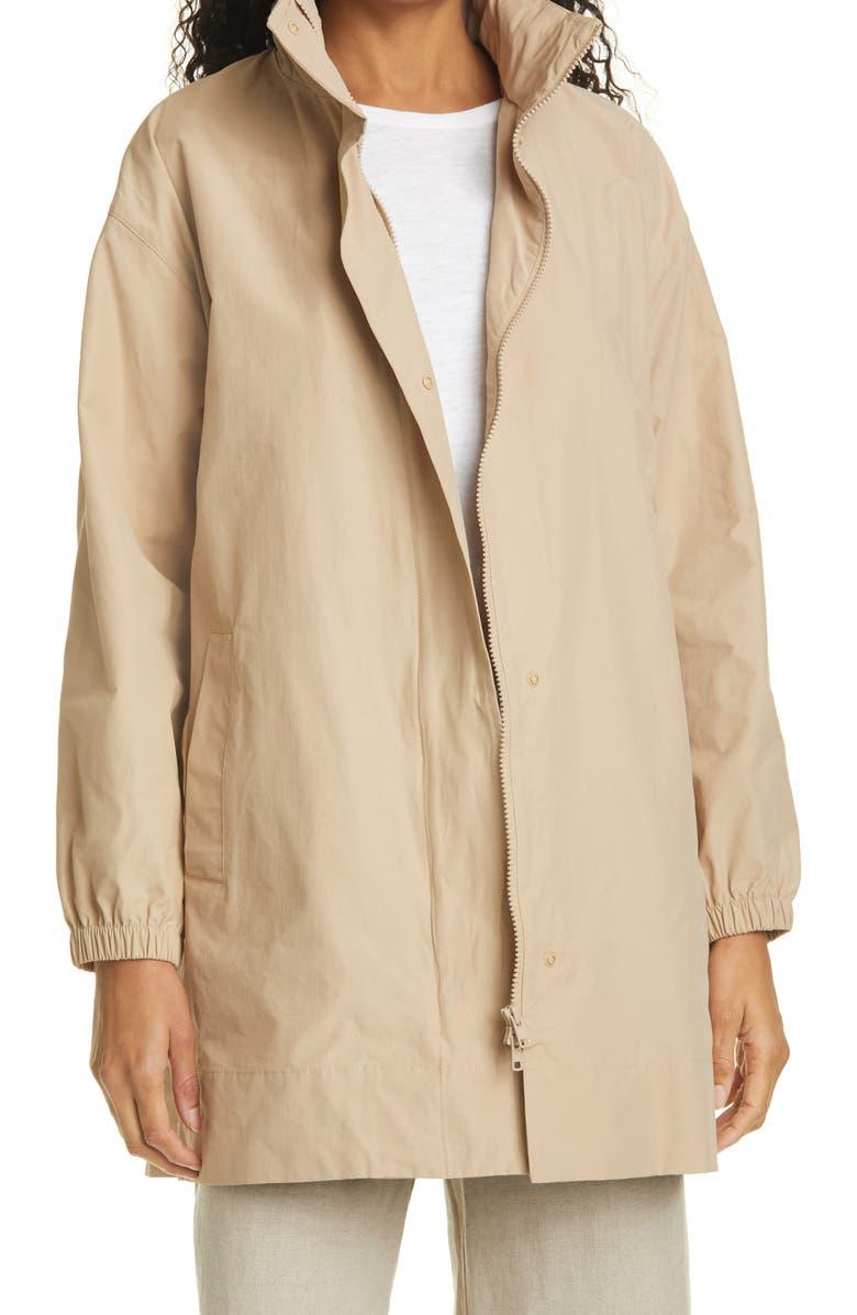 EILEEN FISHER Stand Collar Hidden Hood Organic Cotton Blend Coat, Main, color, KHAKI