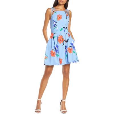 Petite Vince Camuto Multistrap Fit & Flare Dress, Blue