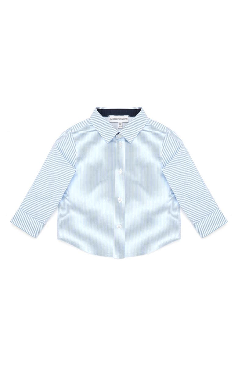 ARMANI JUNIOR Stripe Stretch Cotton Dress Shirt, Main, color, MICRO RIGA AZZ