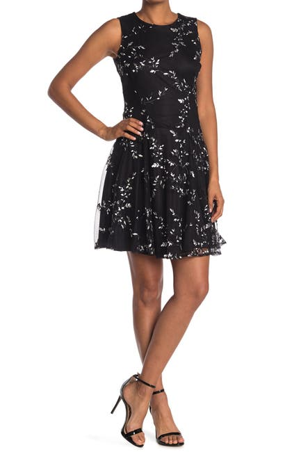 Image of Tommy Hilfiger Embroidered Mesh Lace Fit and Flare