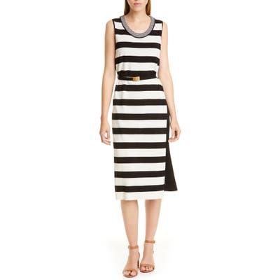 Tory Burch Belted Stripe Midi Dress, Black