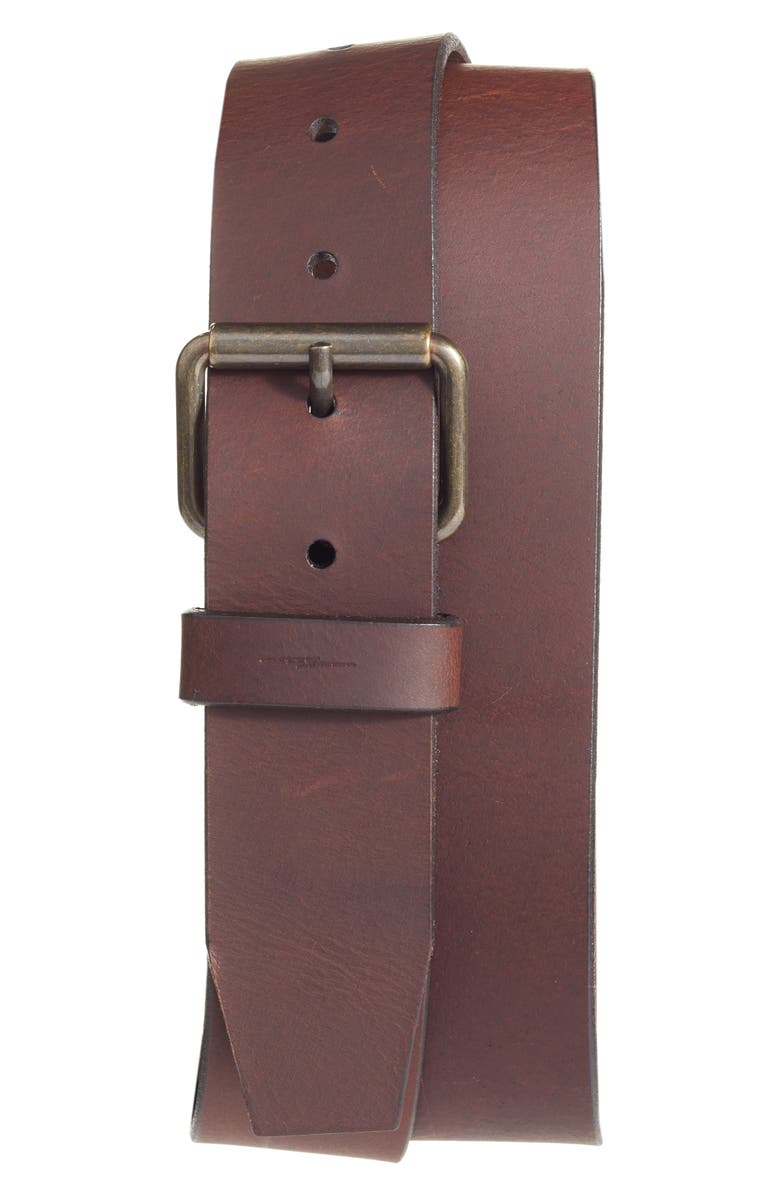 SHINOLA Rambler Leather Belt, Main, color, DARK BROWN