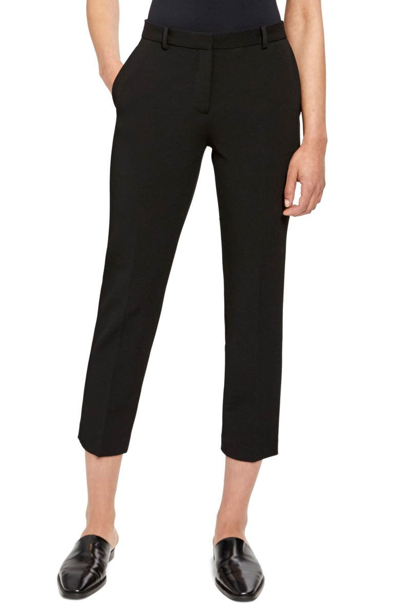 THEORY Flat Front Crop Tailored Trousers, Main, color, BLACK