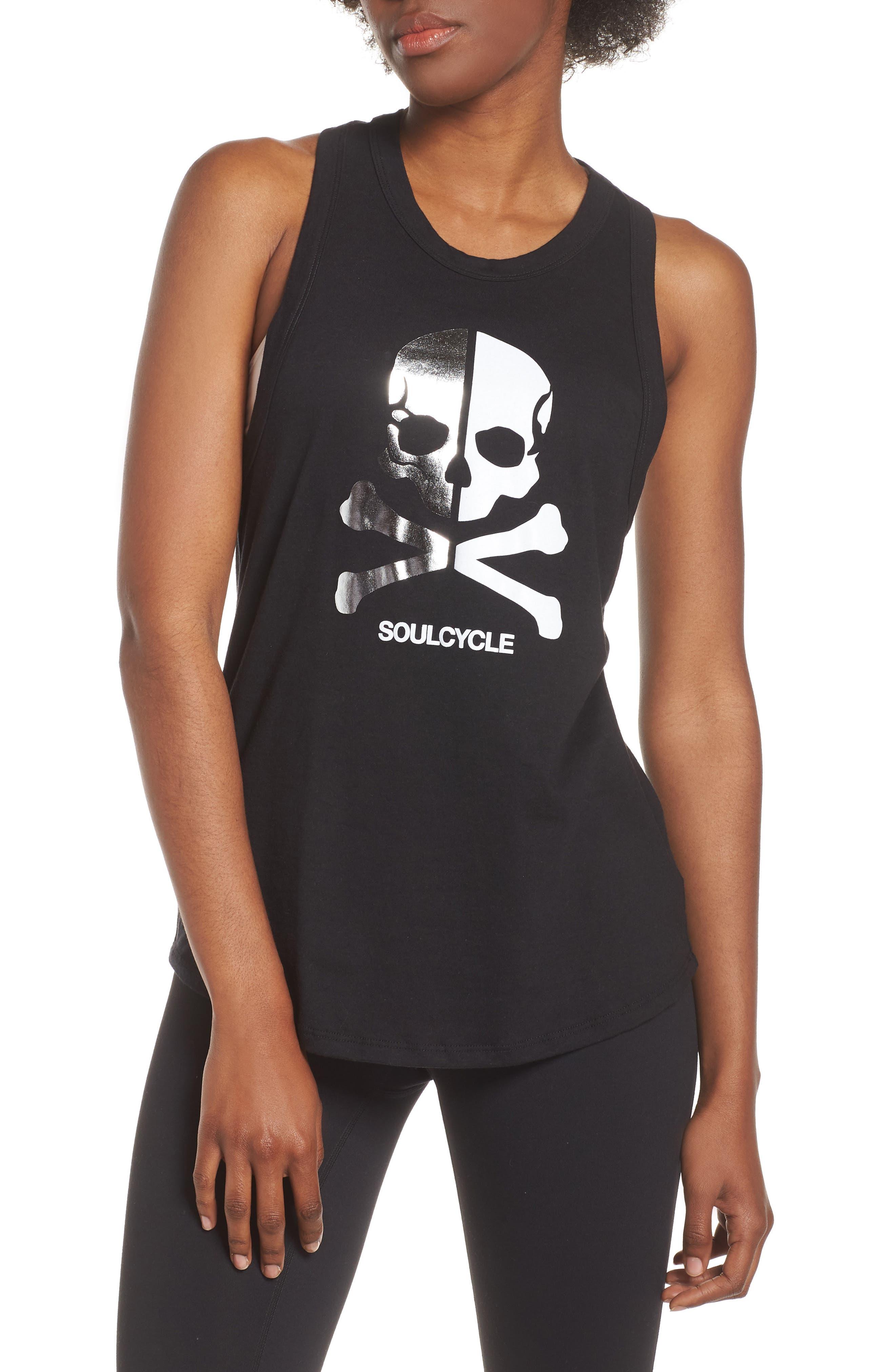 Soul By Soulcycle Split Skull Racerback Tank, Black