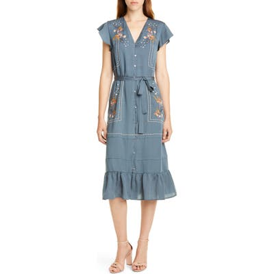 Dolan Cole Embroidered Button Front Dress, Blue