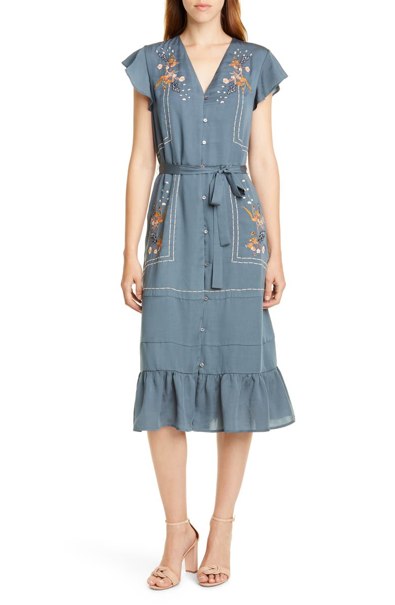 DOLAN Cole Embroidered Button Front Dress, Main, color, STEEL BLUE