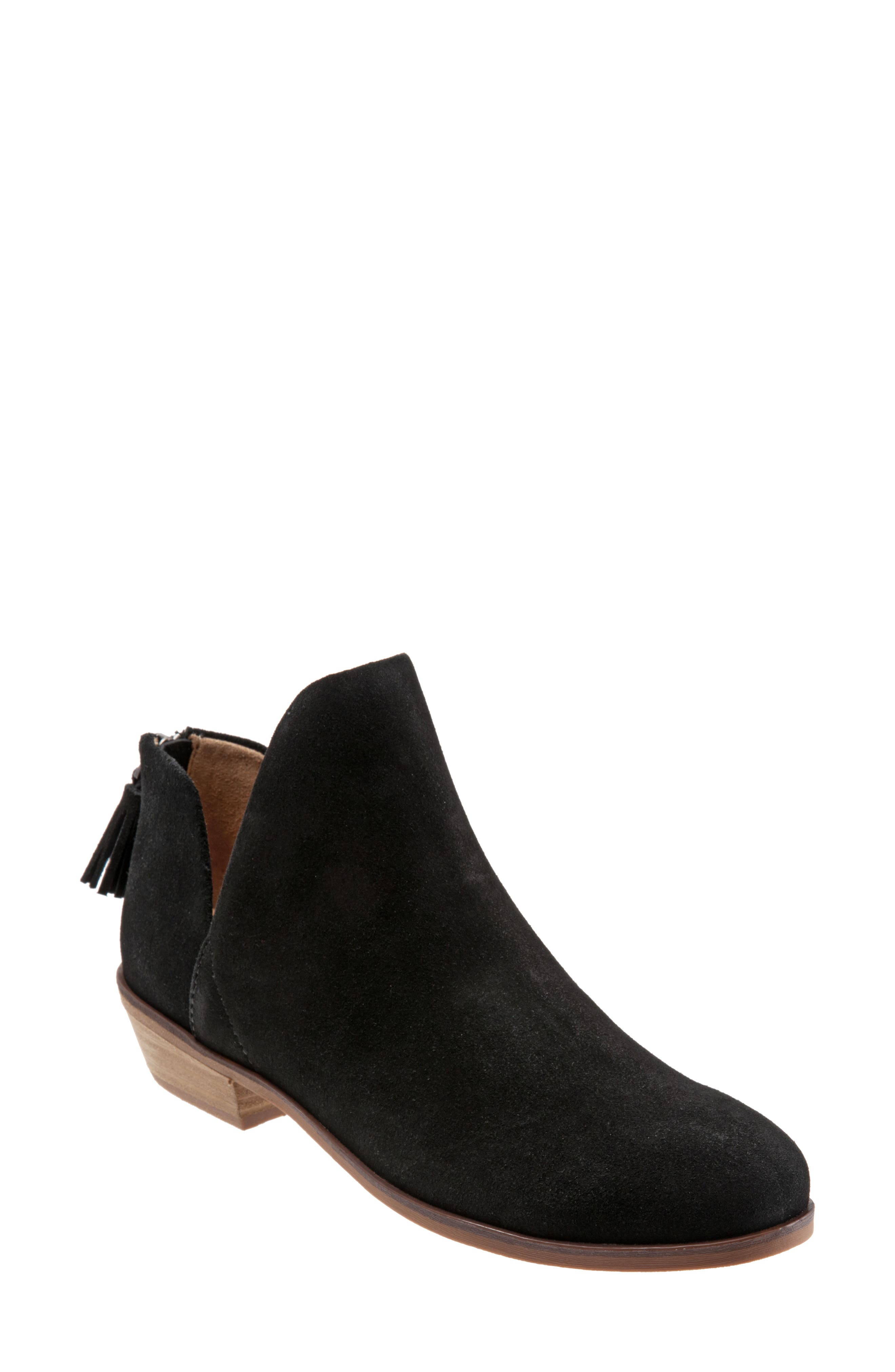 A bootie that lets the ankles breath (and, yes, show off) features a low, stacked woodgrain heel and tasseled back-zip closure. Style Name: Softwalk Rylee Bootie (Women). Style Number: 5812432. Available in stores.