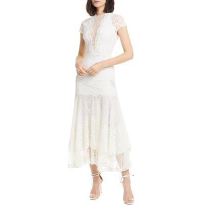 Jonathan Simkhai Tiered Mixed Lace Midi Dress, White