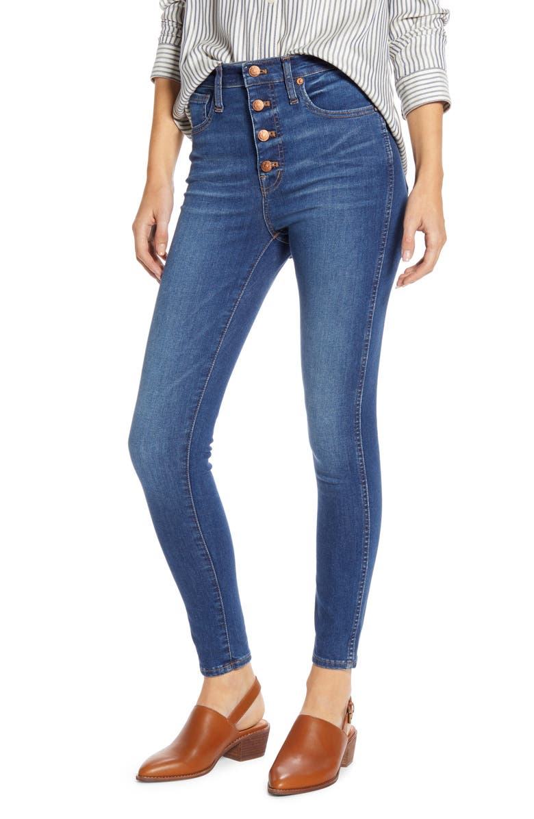 MADEWELL High Rise Button Front Skinny Jeans, Main, color, DAVENTRY
