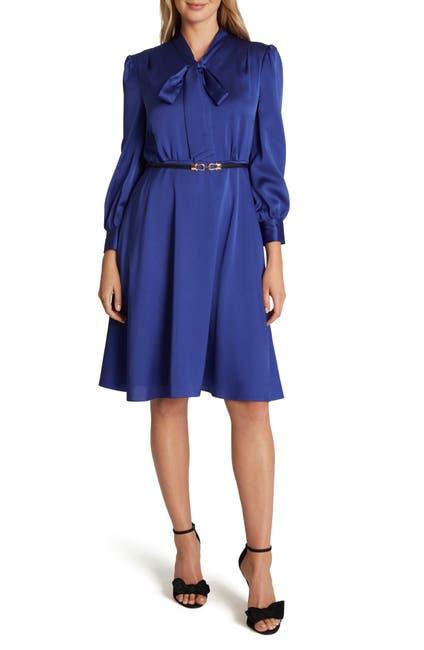 Image of Tahari Tie Neck Long Sleeve Chiffon Dress