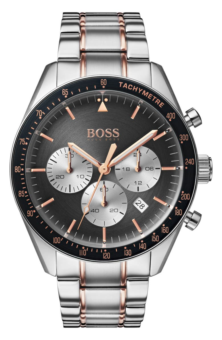 BOSS Trophy Chronograph Bracelet Watch, 44mm, Main, color, SILVER/ GREY/ ROSE GOLD