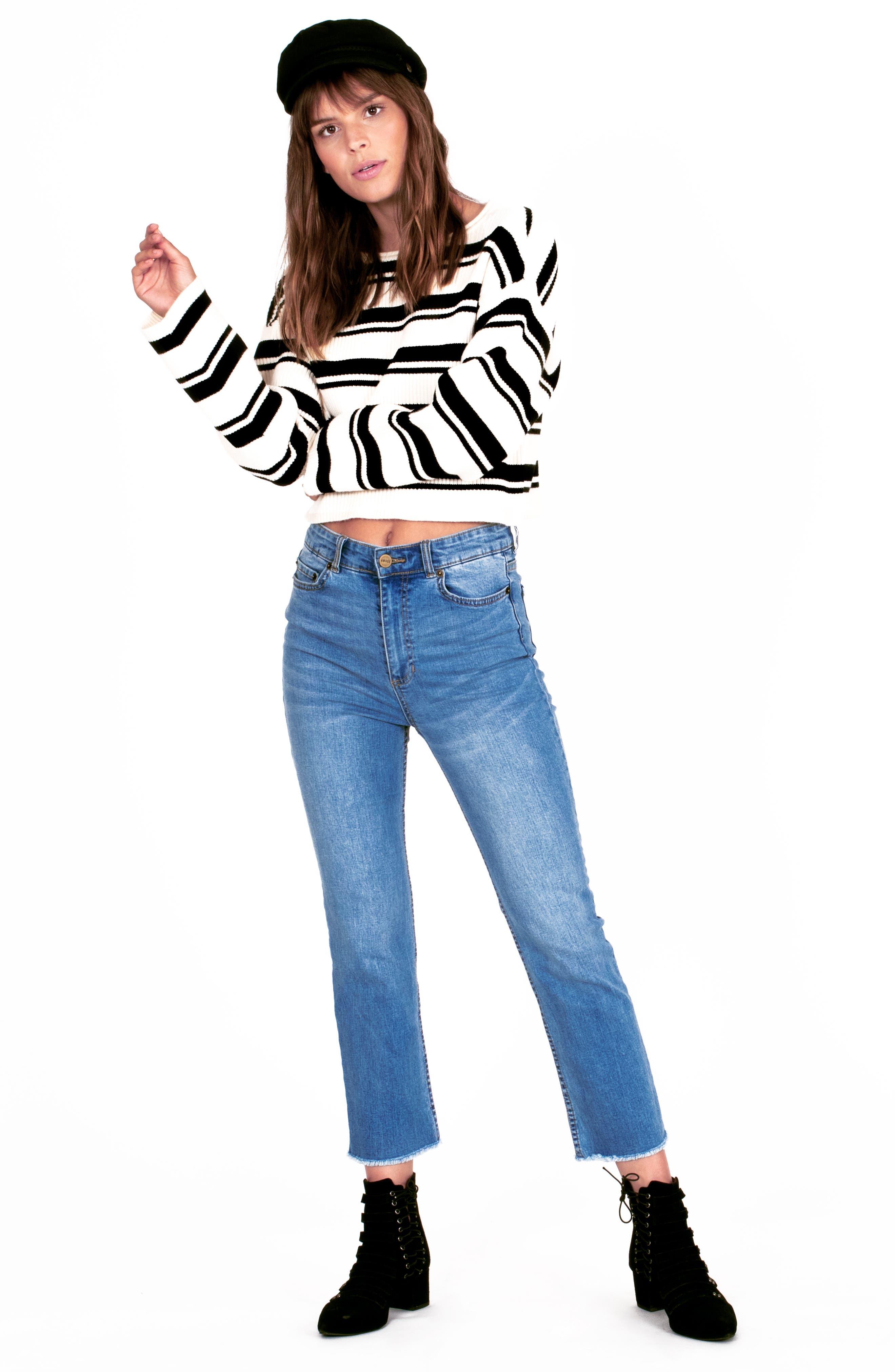 ,                             Bahia Stripe Crop Sweater,                             Alternate thumbnail 3, color,                             001