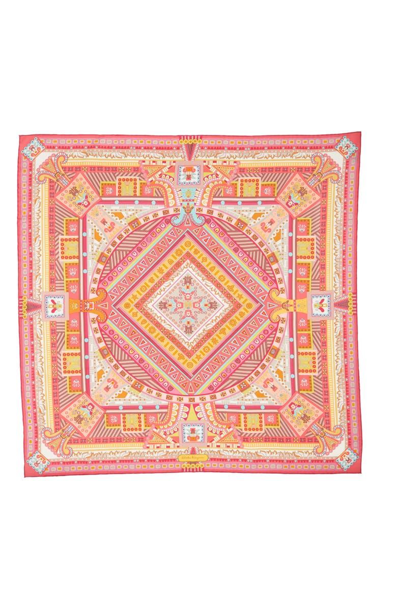 SALVATORE FERRAGAMO Graphic Geometric Silk Scarf, Main, color, 650