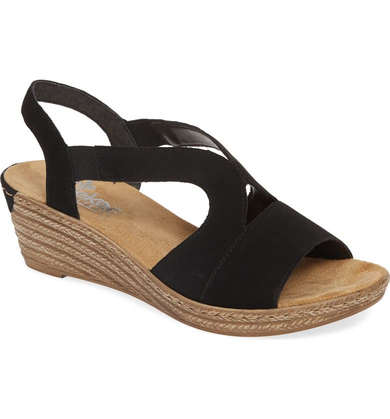RIEKER ANTISTRESS Fanni Wedge Sandal, Main, color, 001