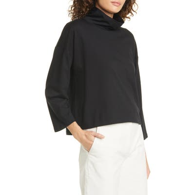 Eileen Fisher Funnel Neck Organic Cotton Blend Top, Black