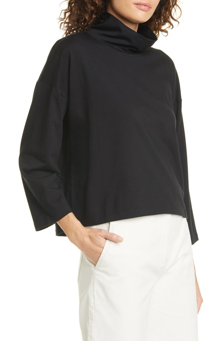 EILEEN FISHER Funnel Neck Organic Cotton Blend Top, Main, color, 001