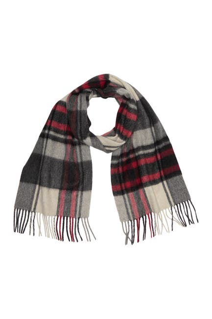 Image of PHENIX Off Center Plaid Print Cashmere Fringe Trim Scarf