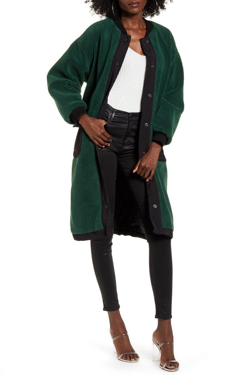 J.O.A. Teddy Faux Fur Long Bomber Coat, Main, color, 300