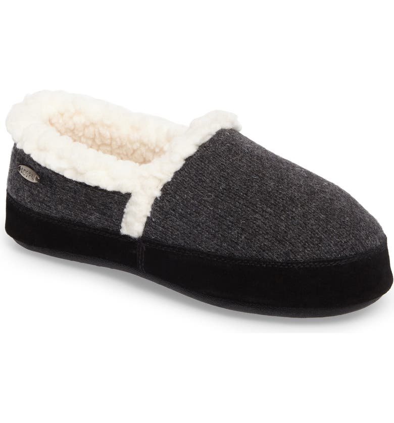 ACORN Moc Ragg Slipper, Main, color, DARK CHARCOAL HEATHER