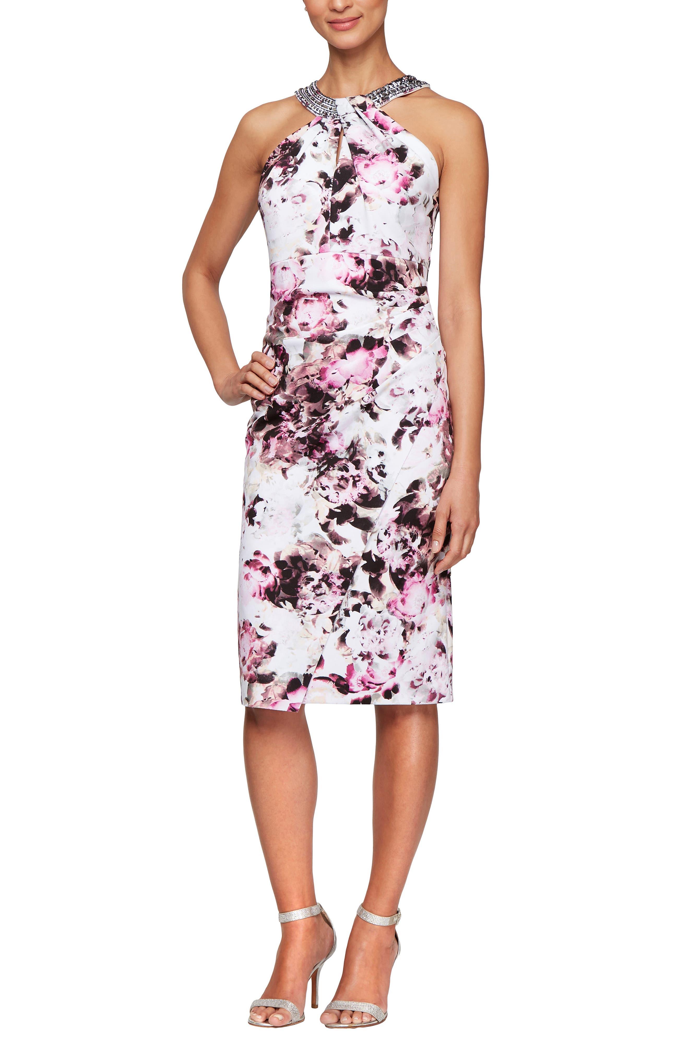 ,                             Floral Cocktail Dress,                             Main thumbnail 1, color,                             MULTI FLORAL