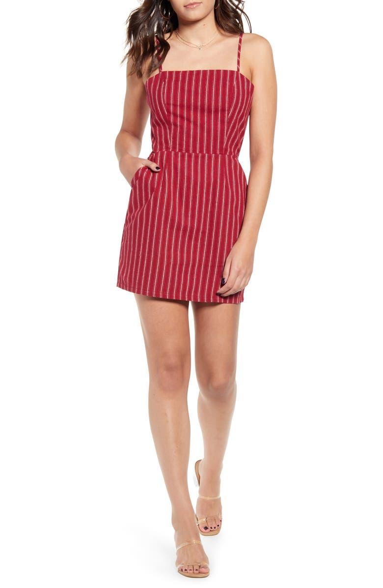MINKPINK Thursday Stripe Cotton Minidress, Main, color, DEEP BERRY