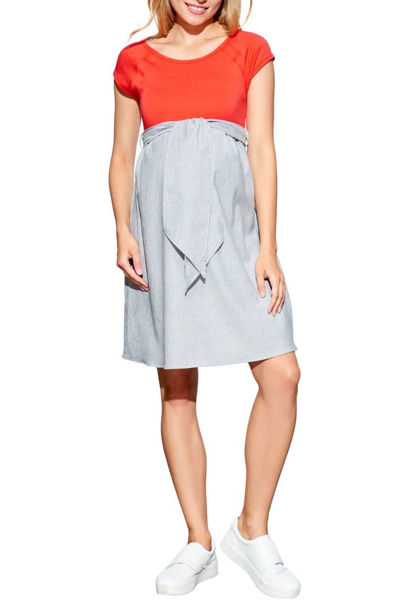017608384c308 Tie Front Maternity Dress, Main, color, CHERRY/ SEESUCKER