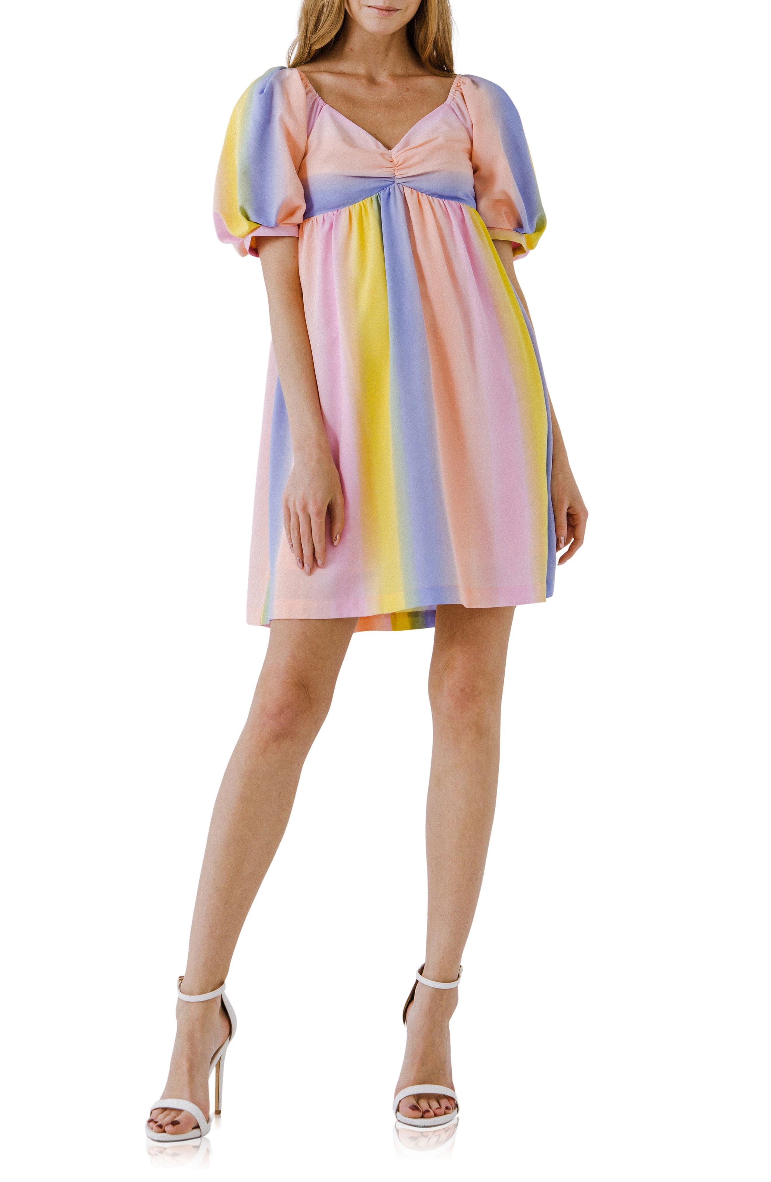 Multicolor Stripe Babydoll Dress