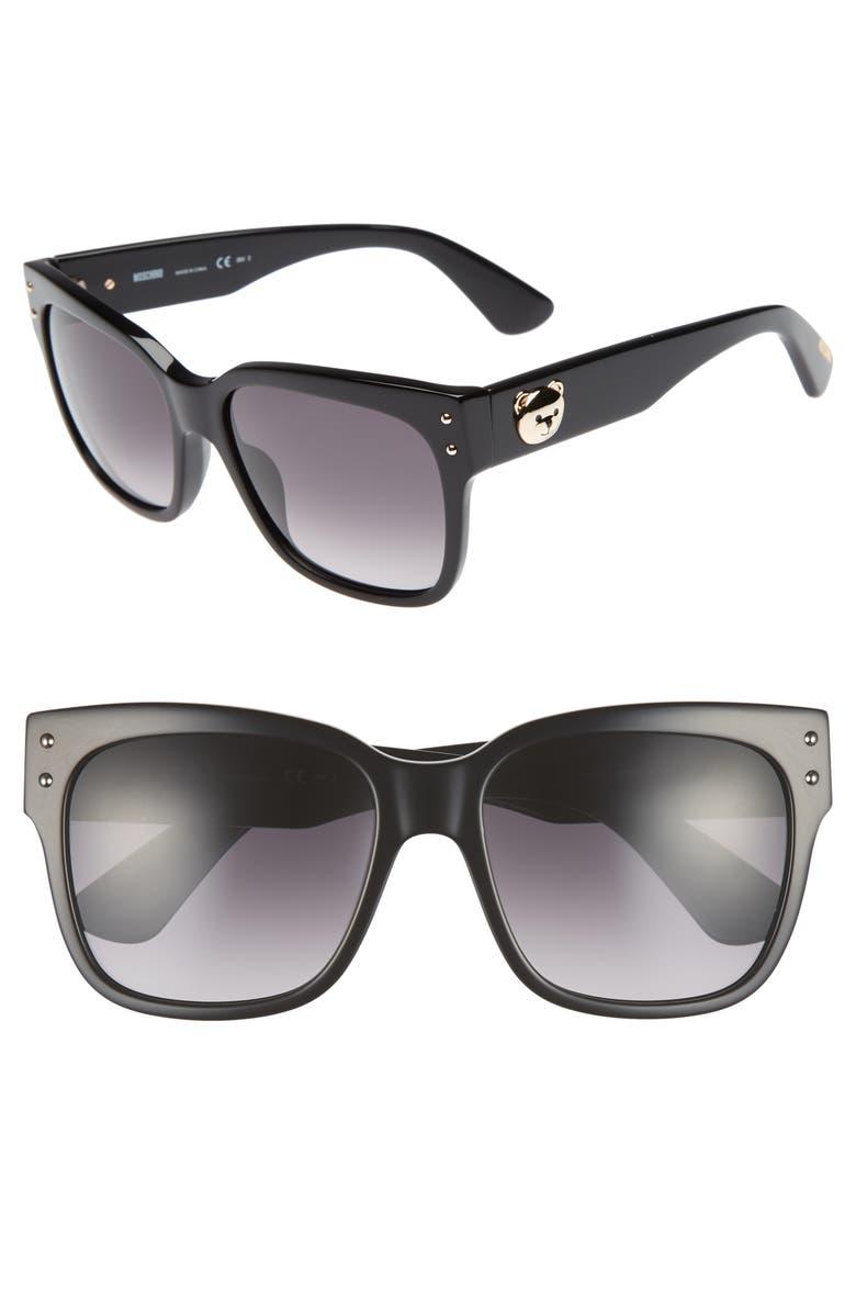 MOSCHINO 56mm Gradient Lens Sunglasses, Main, color, BLACK