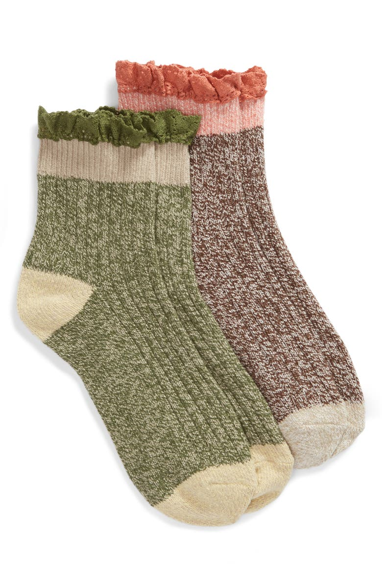 BP. 2-Pack Lace Cuff Marled Ankle Socks, Main, color, BROWN PINECONE MARL