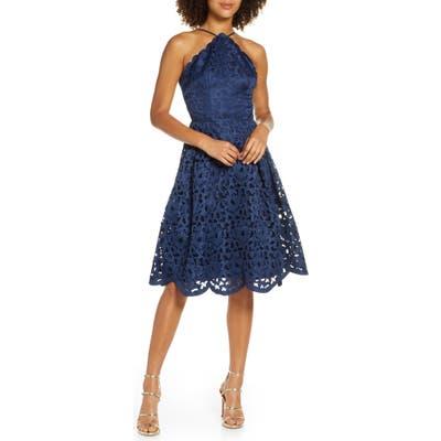 Chi Chi London Claudetta Fit & Flare Lace Dress, Blue