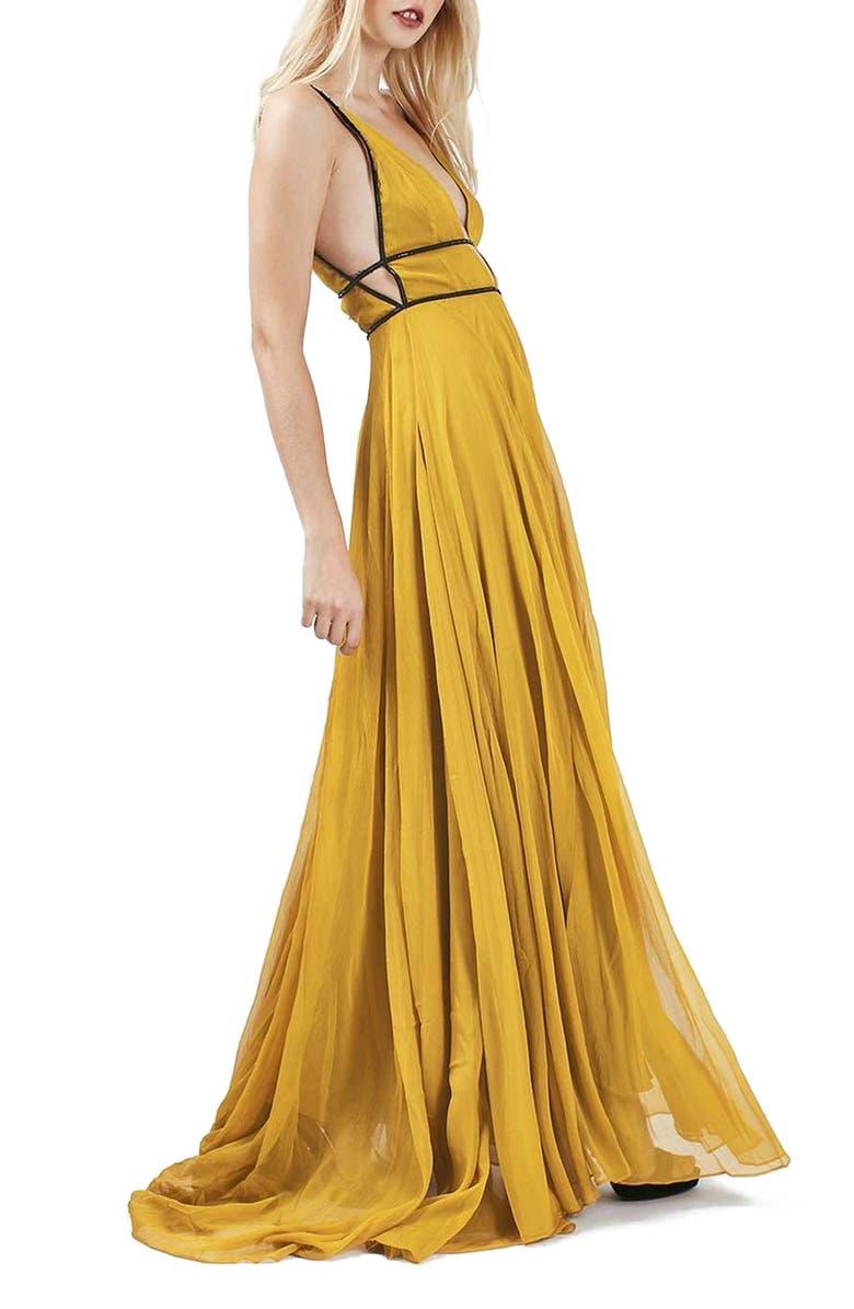 TOPSHOP Beaded Maxi Dress, Main, color, 700