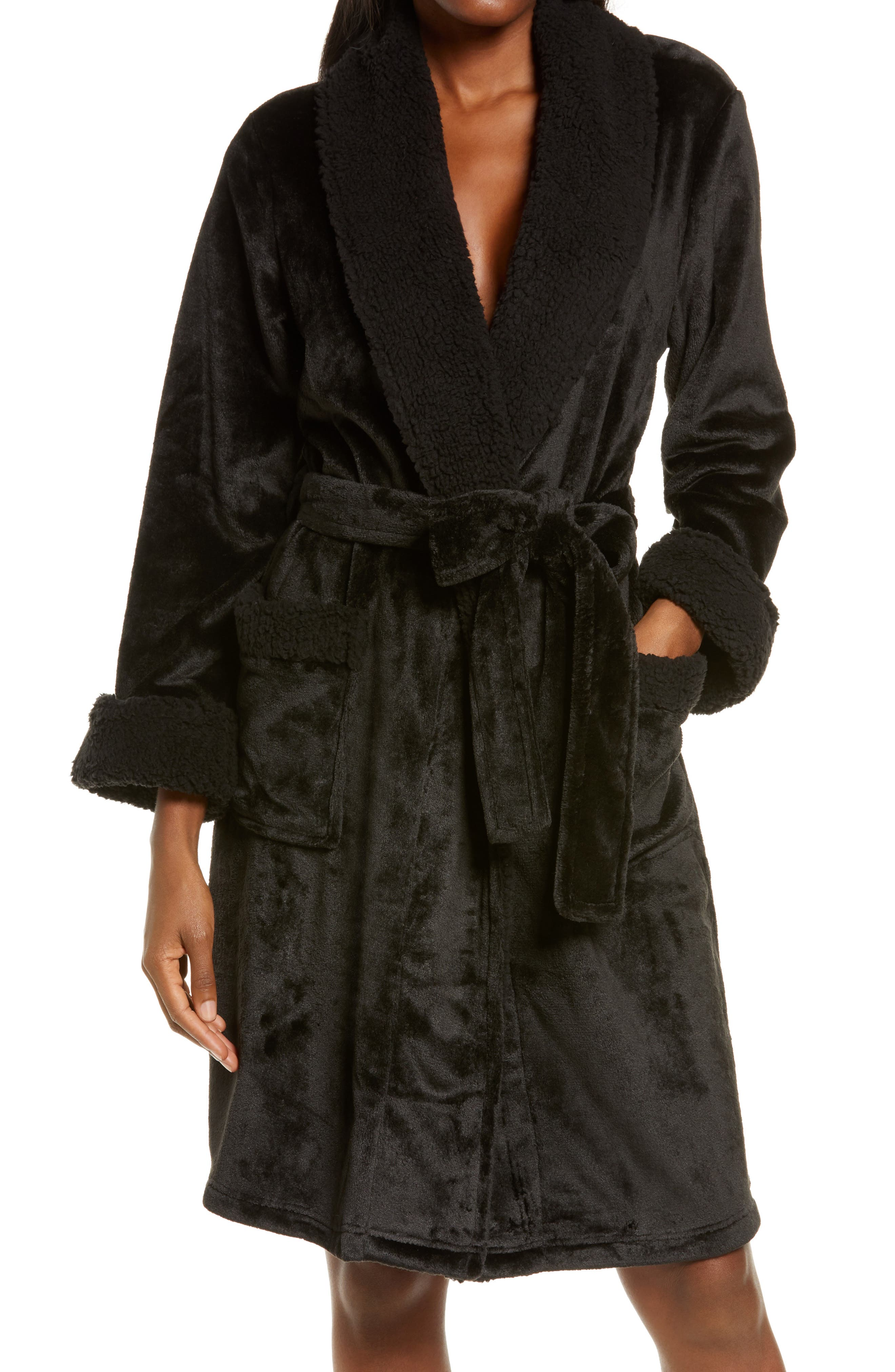 A shawl collar and hand-warming patch pockets style an undeniably plush robe finished with a tie belt at the waist. Style Name: Natori Plush Robe. Style Number: 6115155. Available in stores.