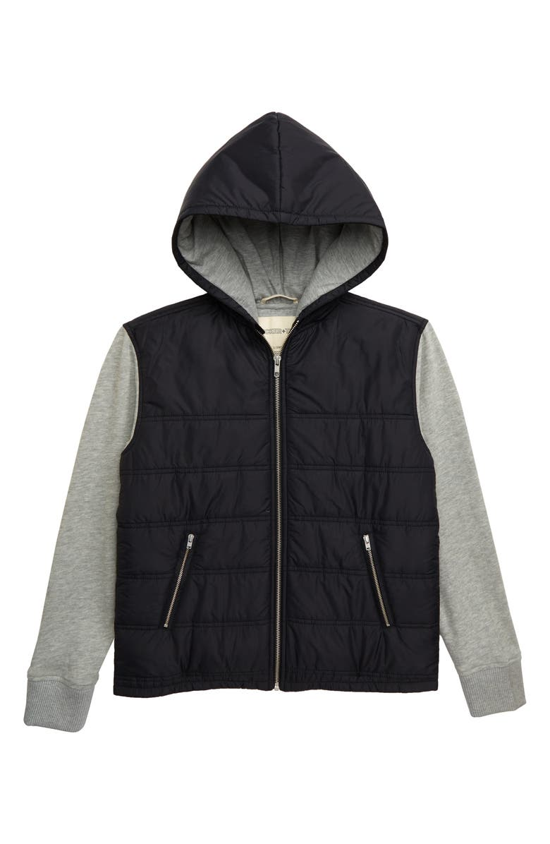 TUCKER + TATE Mountain Peak Hooded Nylon Jacket, Main, color, BLACK