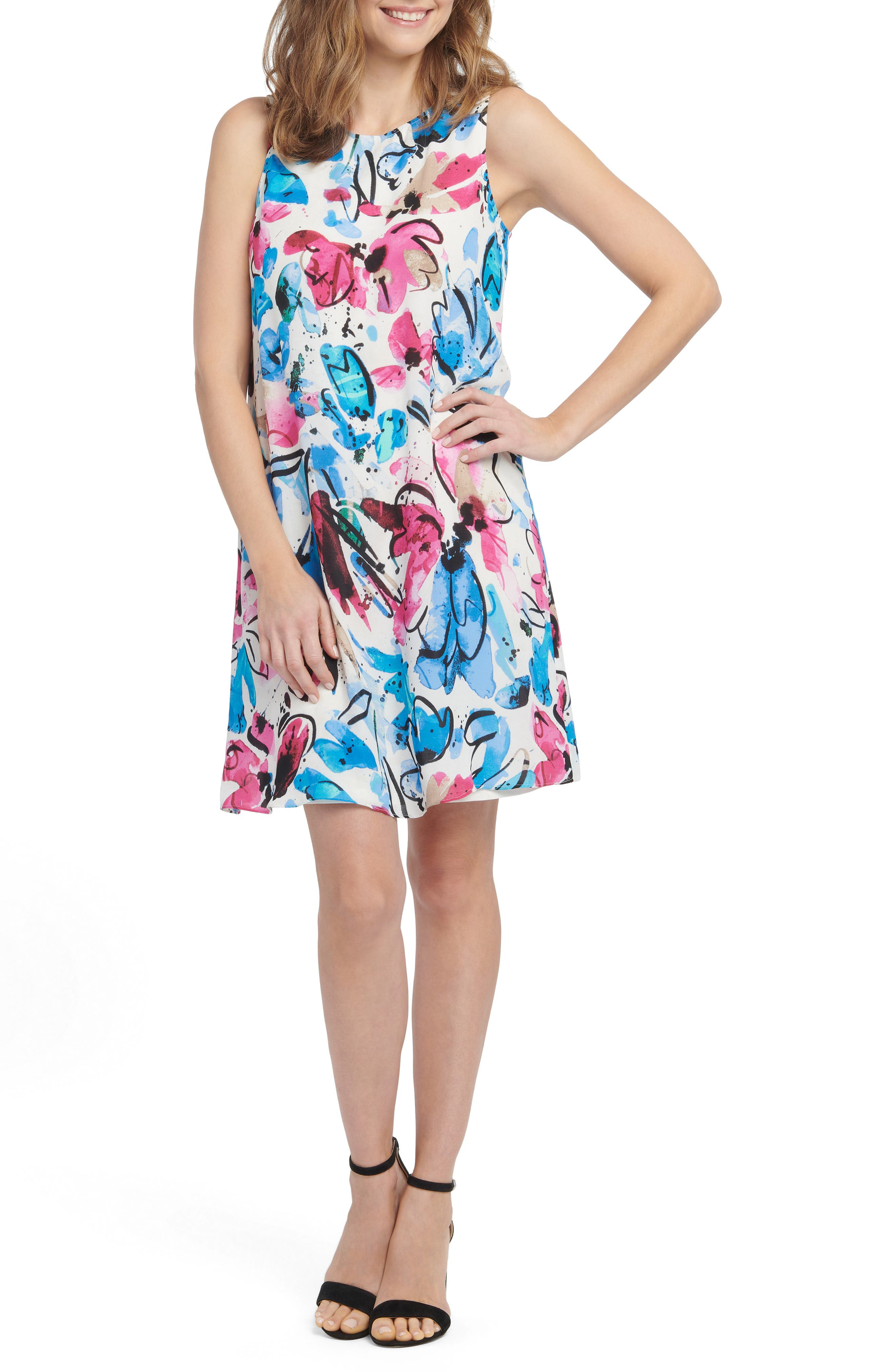 Brushstroked florals in a vibrant collection of colors enliven this summery dress that\\\'s all set for summery fun. Style Name: Nic+Zoe Vibrant Flora Sleeveless A-Line Dress (Regular & Petite). Style Number: 5966788. Available in stores.