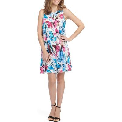Nic+Zoe Vibrant Flora Sleeveless A-Line Dress, Pink