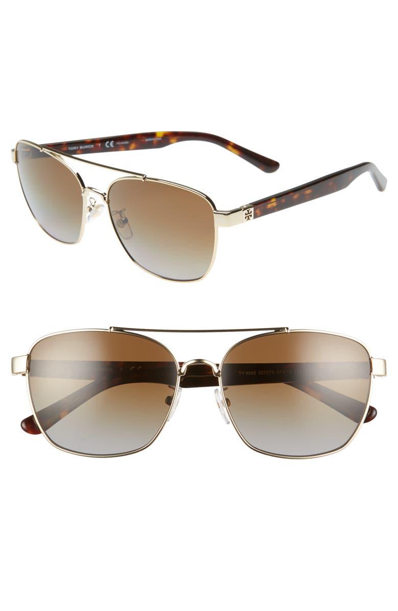 TORY BURCH 57mm Polarized Gradient Navigator Sunglasses, Main, color, 710