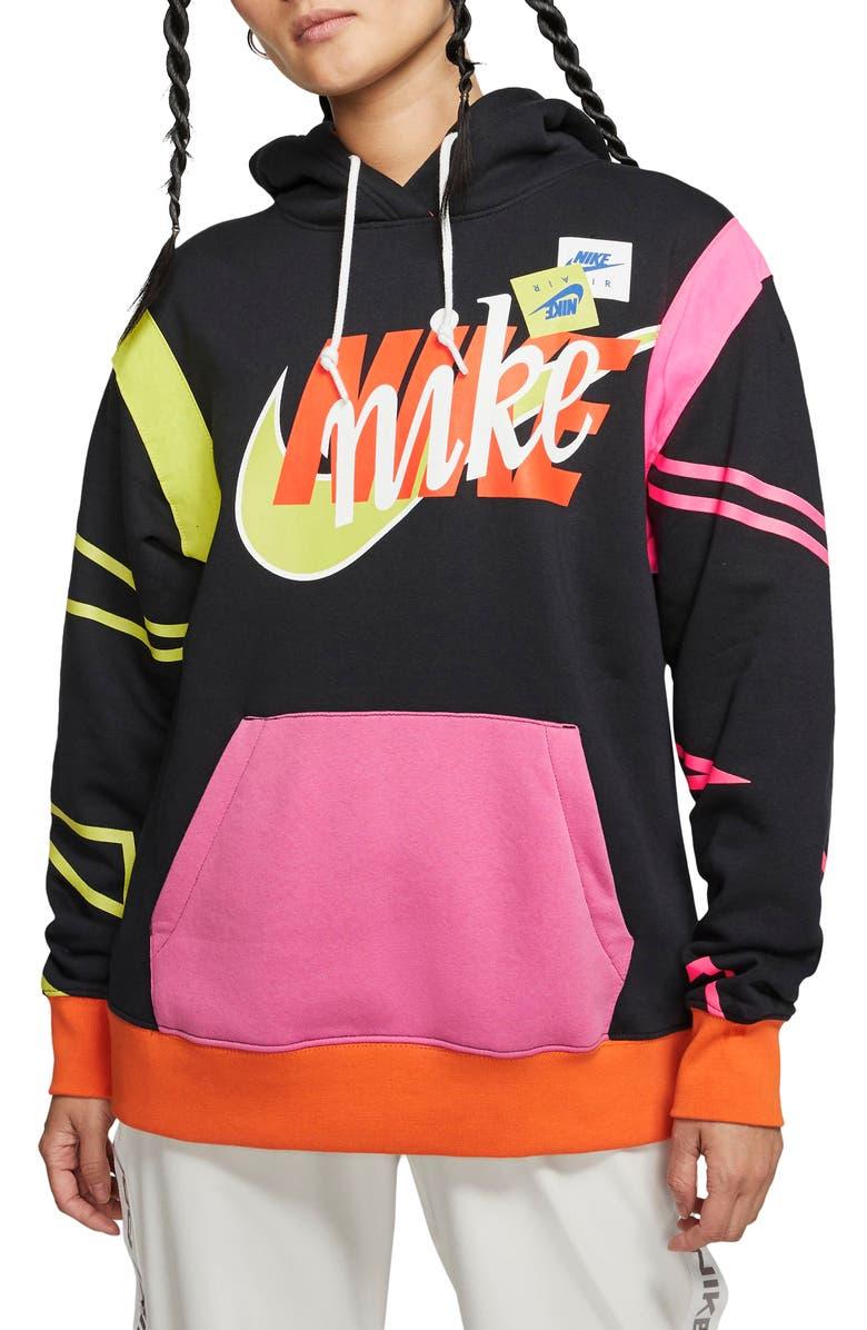 NIKE Sportswear Air Force 1 Stacked Logo Hoodie, Main, color, BLACK/ SAFETY ORANGE