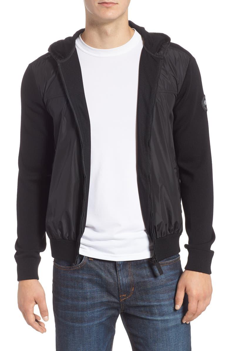 CANADA GOOSE Windbridge Regular Fit Hooded Sweater Jacket, Main, color, BLACK