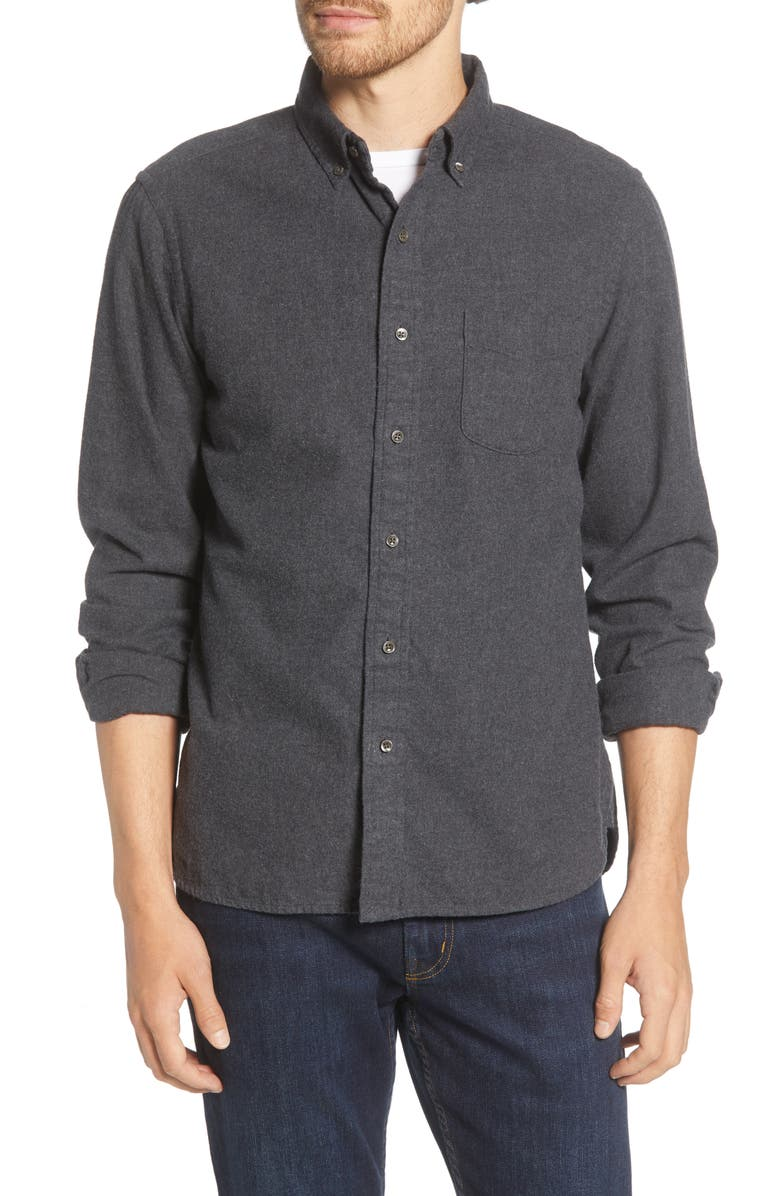 ALEX MILL Regular Fit Button-Down Flannel Shirt, Main, color, CHARCOAL