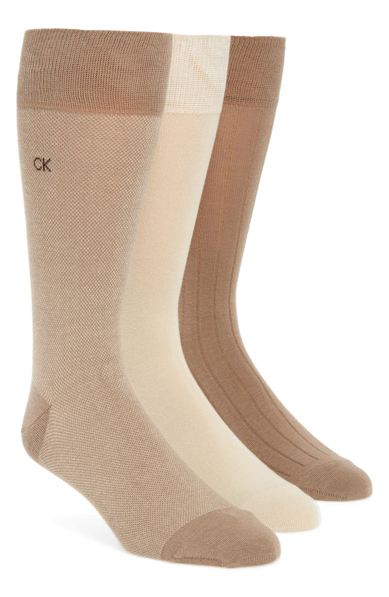 CALVIN KLEIN 3-Pack Crew Socks, Main, color, TAUPE/ STRING/ TAUPE