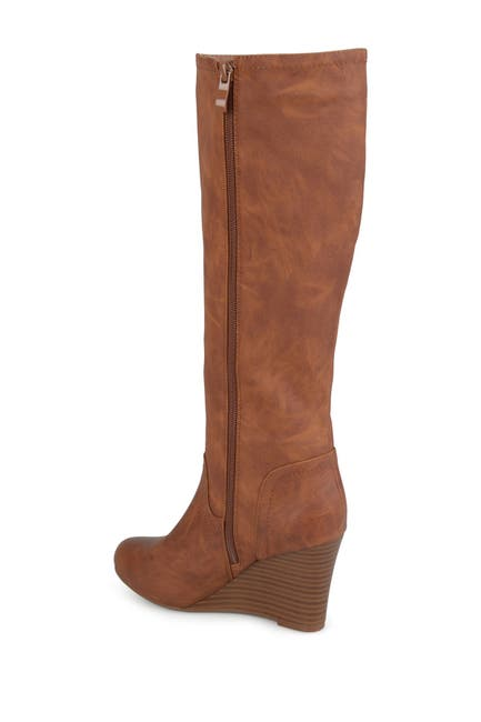 Image of JOURNEE Collection Langly Wedge Heel Tall Boot - Wide Calf